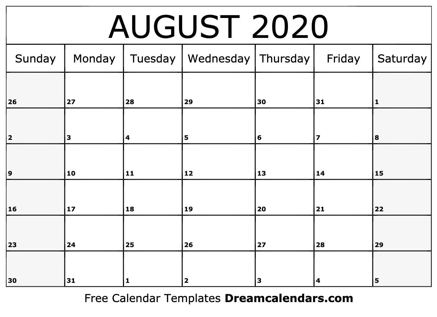 Printable August 2020 Calendar-3 Month Blank Calendar June-August 2020