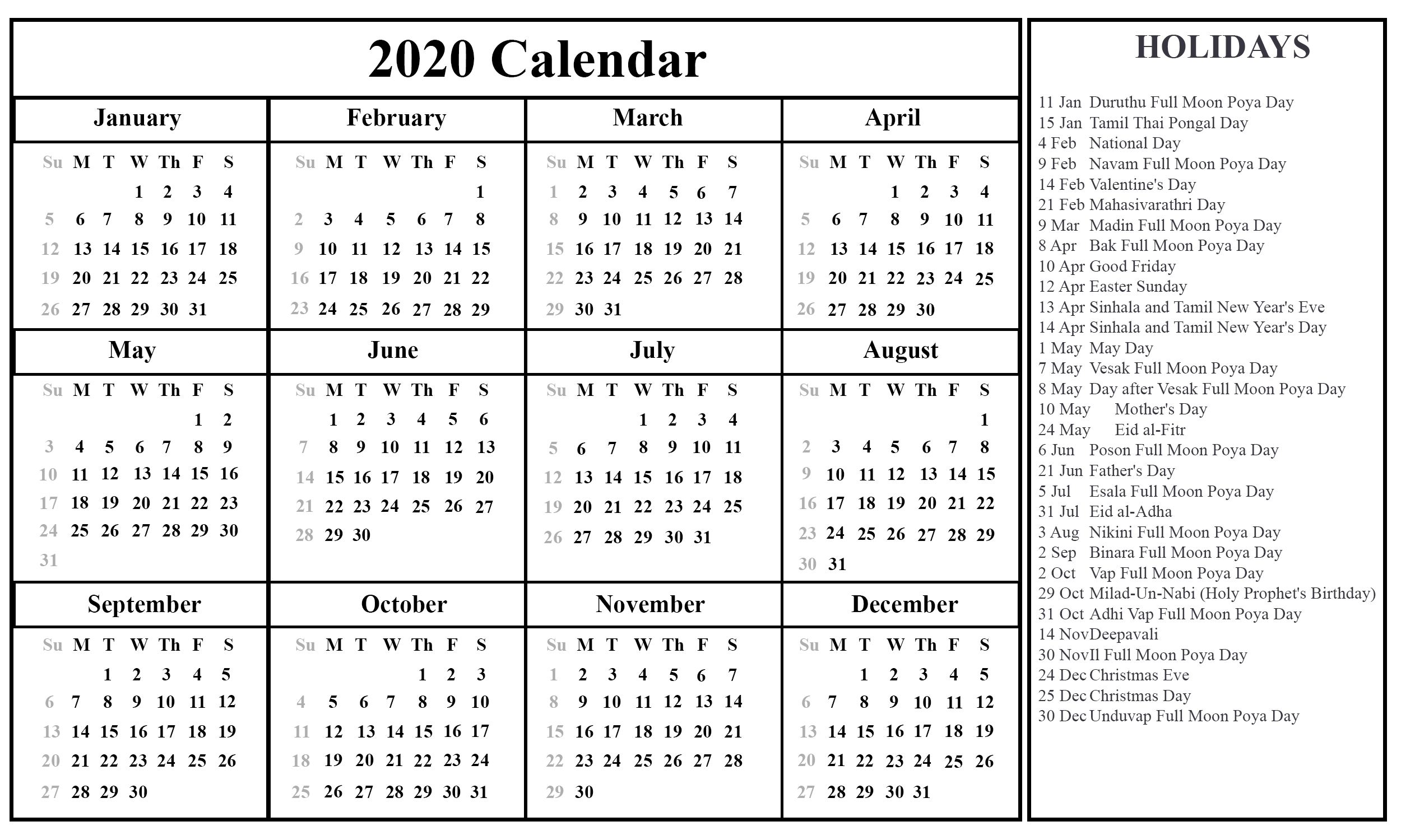 Printable August Calendar Template-2020 Holidays Printable List