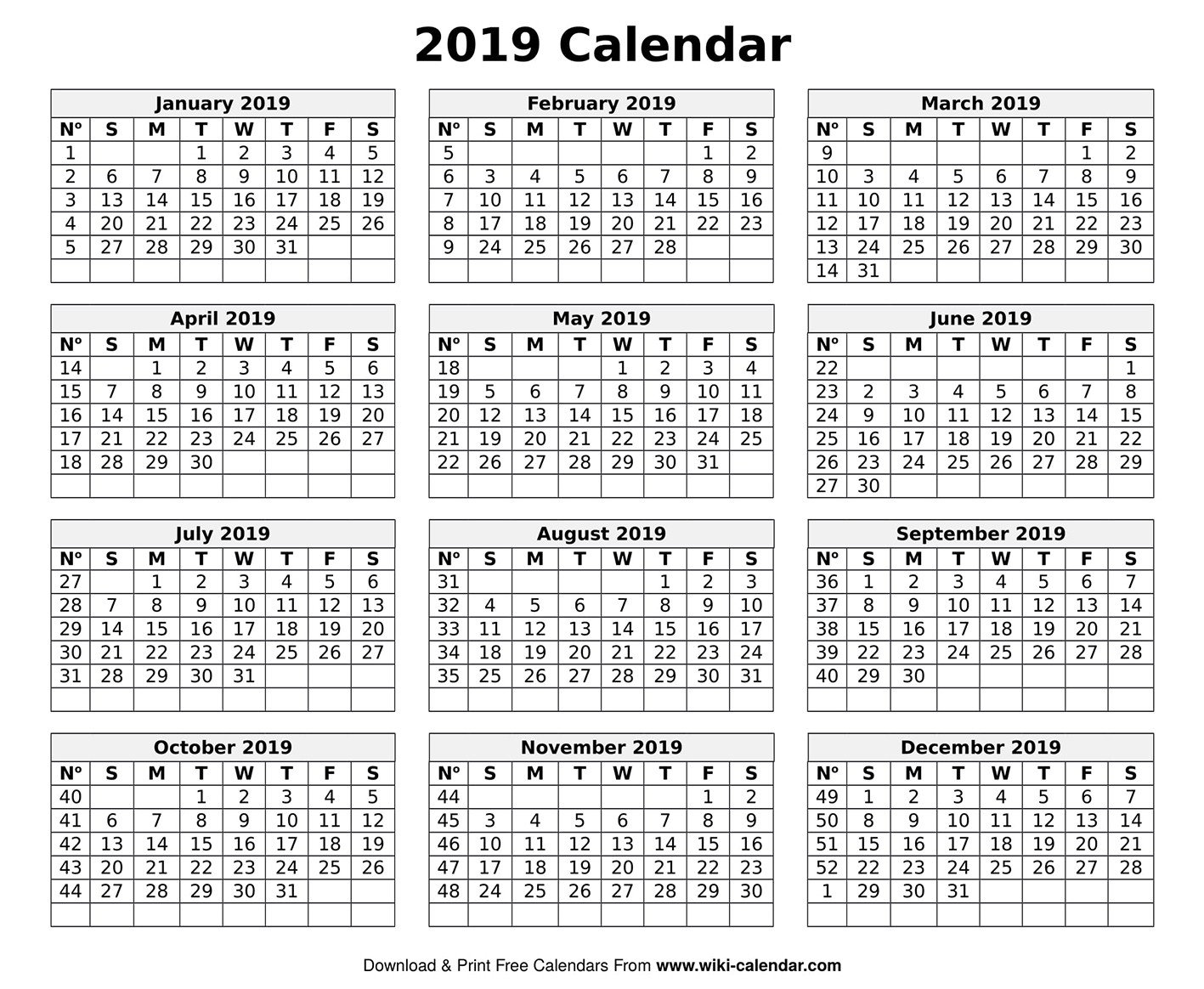 Printable Blank 2019 Calendar Templates-January 2020 Calendar Wiki