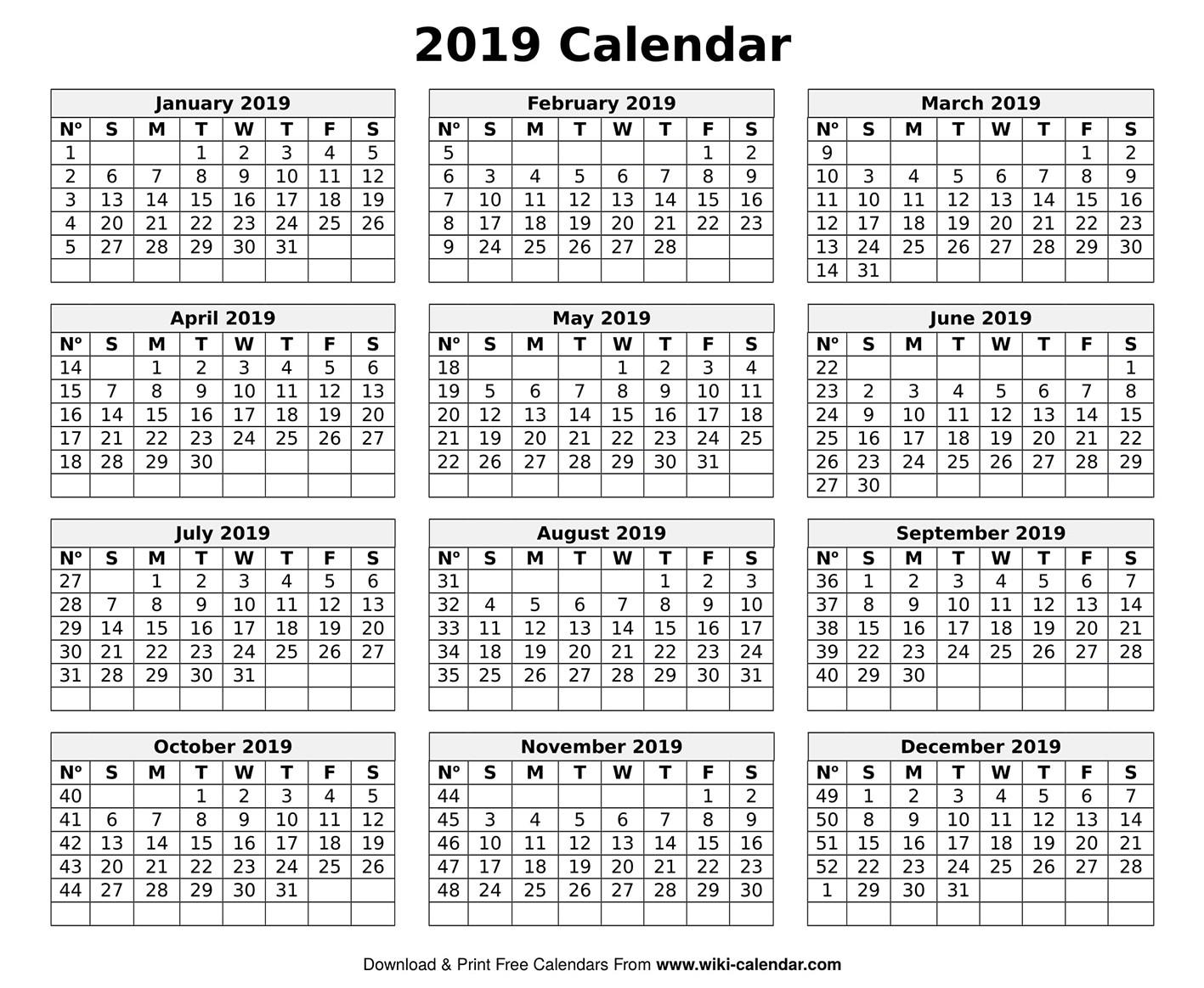 Printable Blank 2019 Calendar Templates-Wiki Calendar January 2020