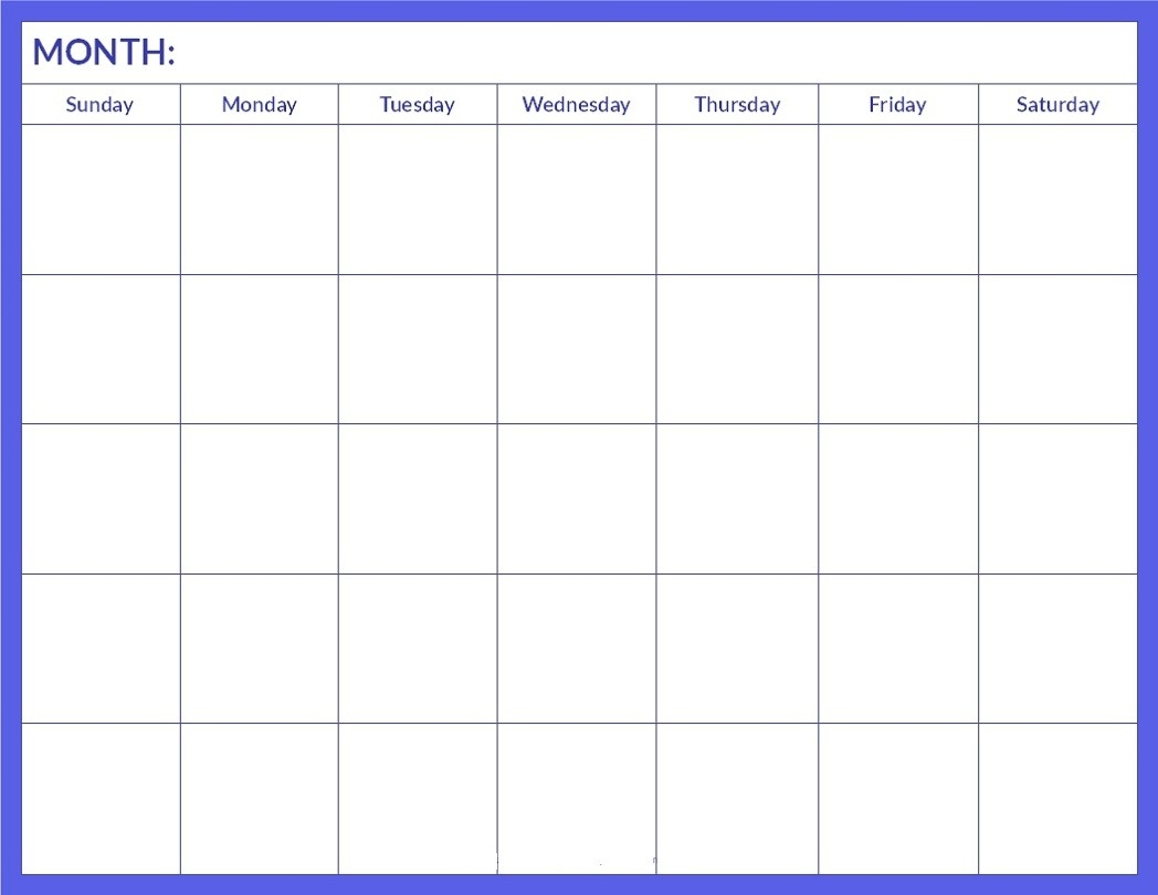 Printable Blank Calendar Pages | Activity Shelter-Blank Calenday Monyh Pages