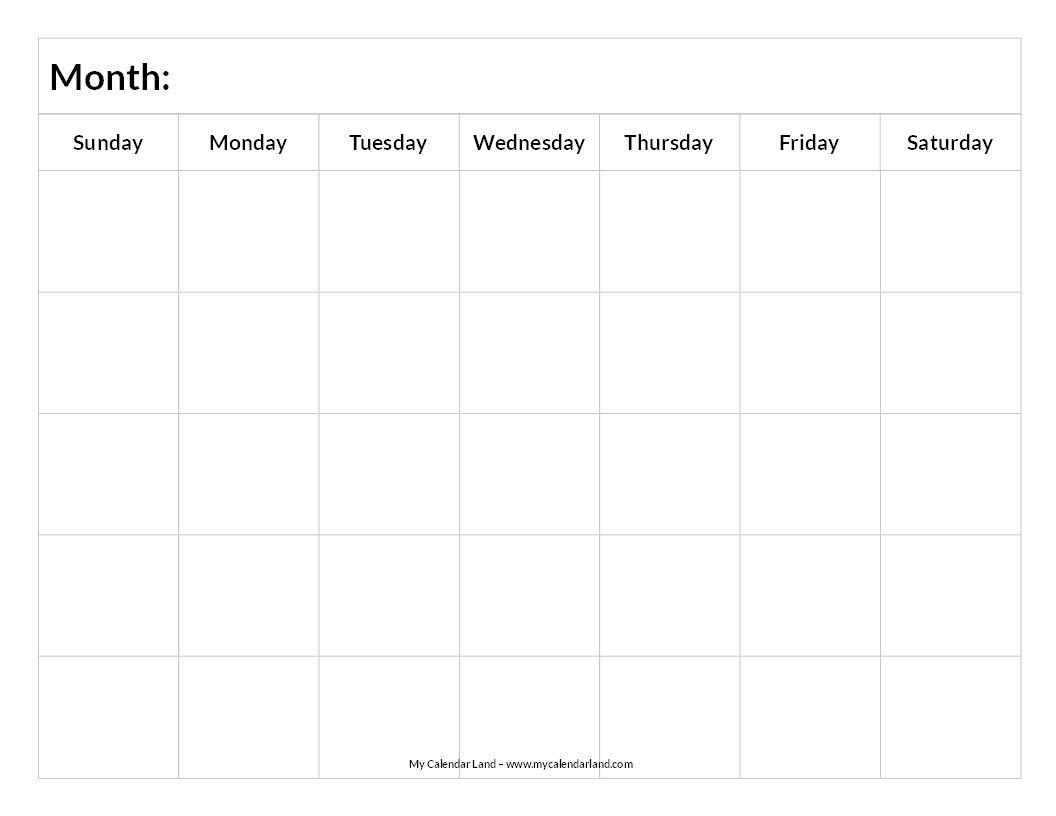 Printable Blank Calendar | Study Schedule | Blank Calendar-Studying Monthly Calendar Template