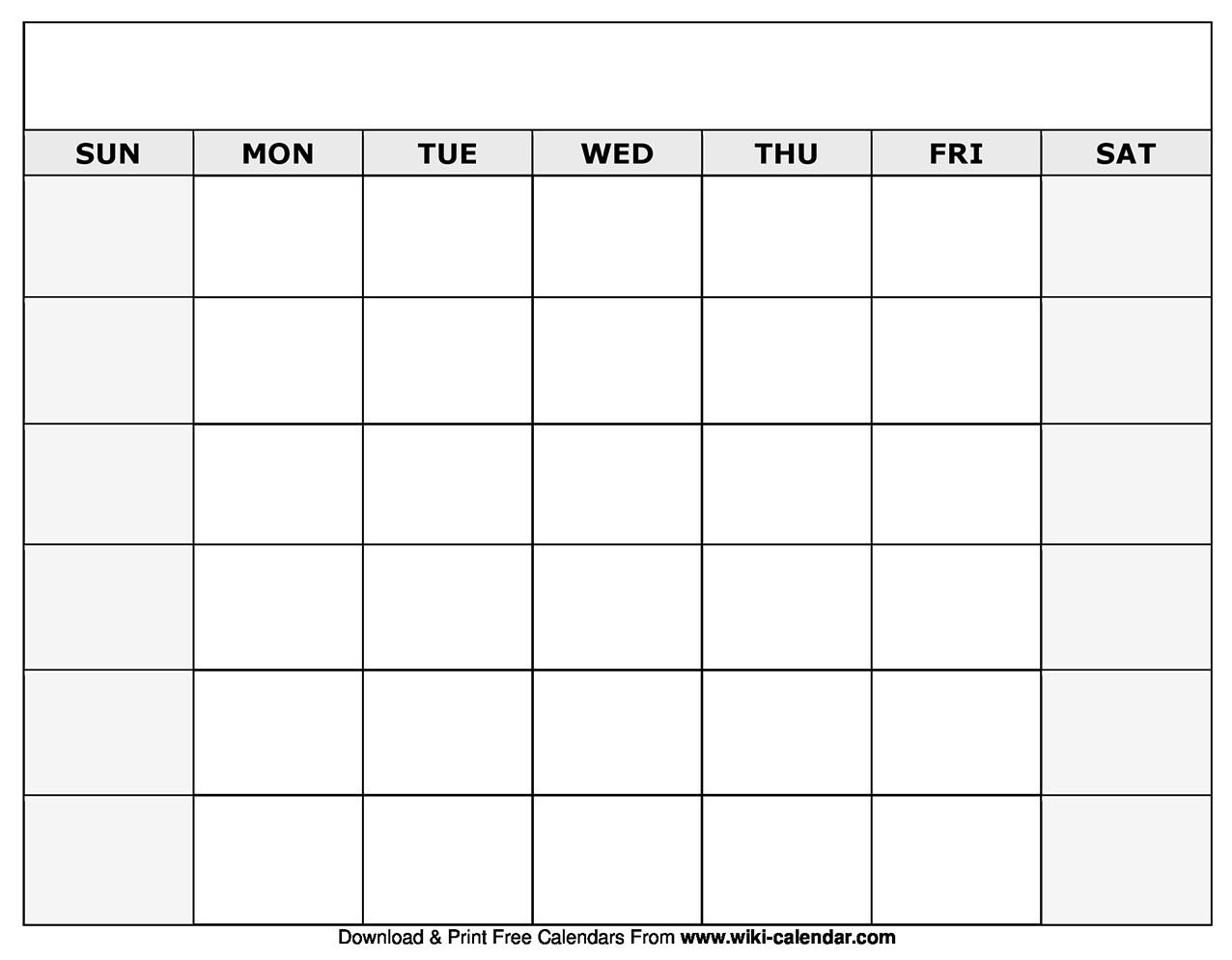 Printable Blank Calendar Templates-Printable Blank Monthly Calendar Template