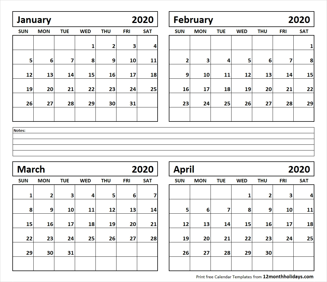 Printable Blank Four Month January February March April 2020-2020 Calendar January February March