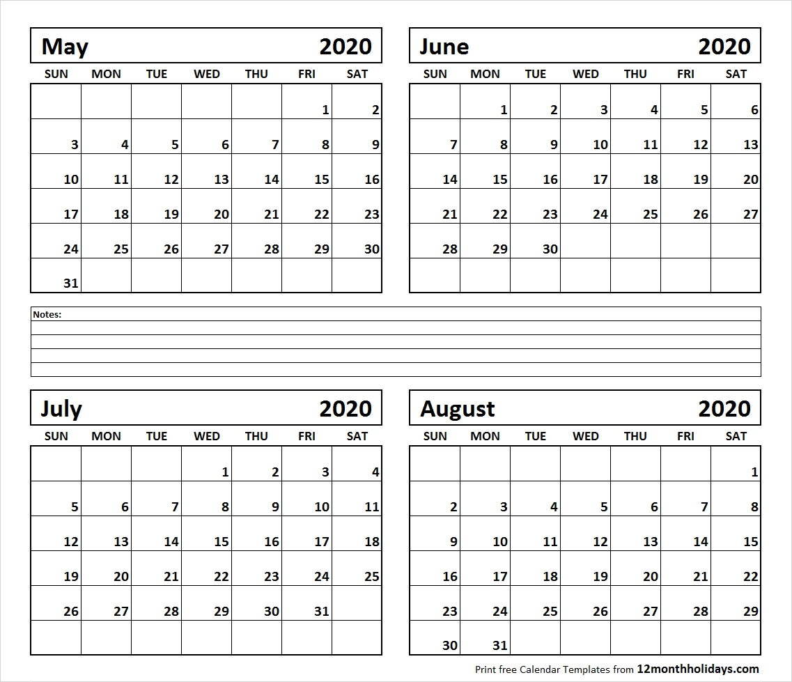 Printable Blank Four Month May June July August 2020-Printable Monthly Calendar June July August 2020