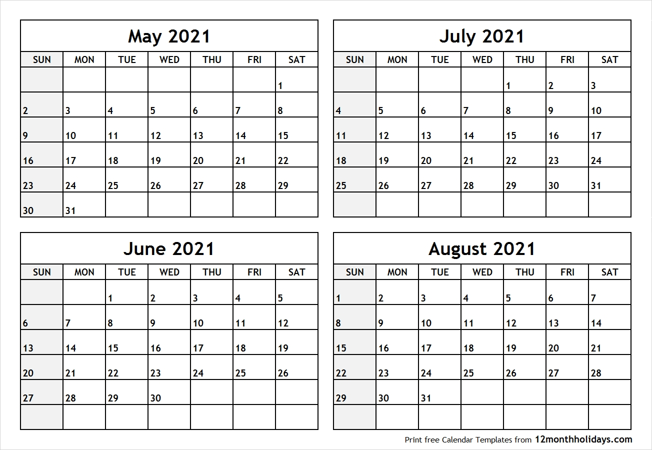Printable Blank Four Month May June July August 2021-June July August Calendar Template