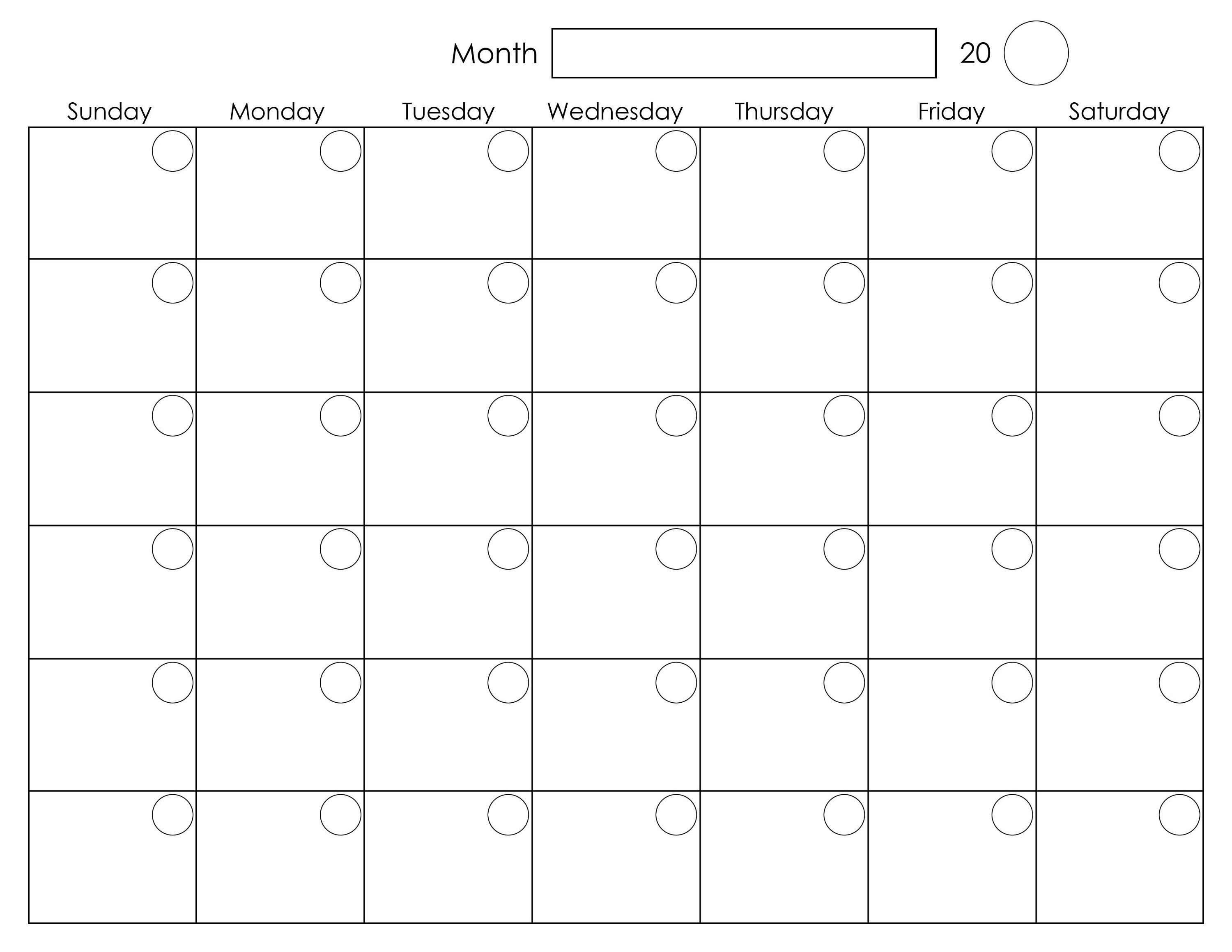 Printable Blank Monthly Calendar | Calendar Template-Month To Month Blank Calendars