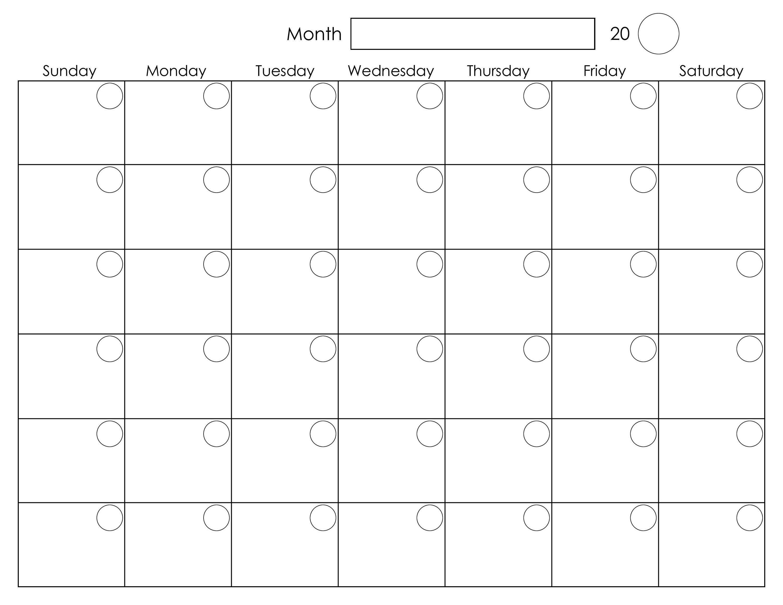 Printable Blank Monthly Calendar   Calendar Template-Printable Blank Monthly Calendar Template