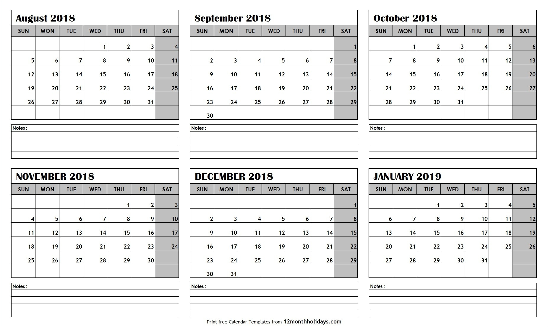 Printable Blank Six Month 6 Month Calendar August January-Six Month Calendar Template