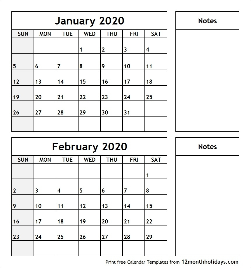 Printable Blank Two Month Calendar January February 2020-2020 Calendar January And February