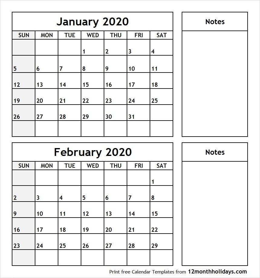Printable Blank Two Month Calendar January February 2020-January Feb 2020 Calendar