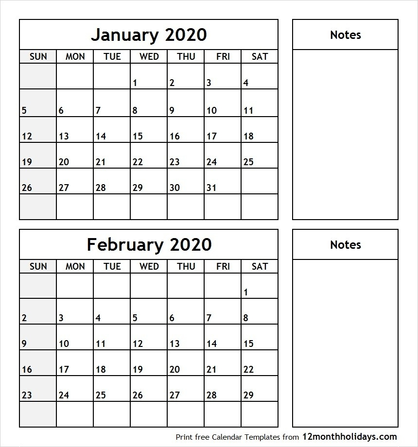 Printable Blank Two Month Calendar January February 2020-January February 2020 Calendar