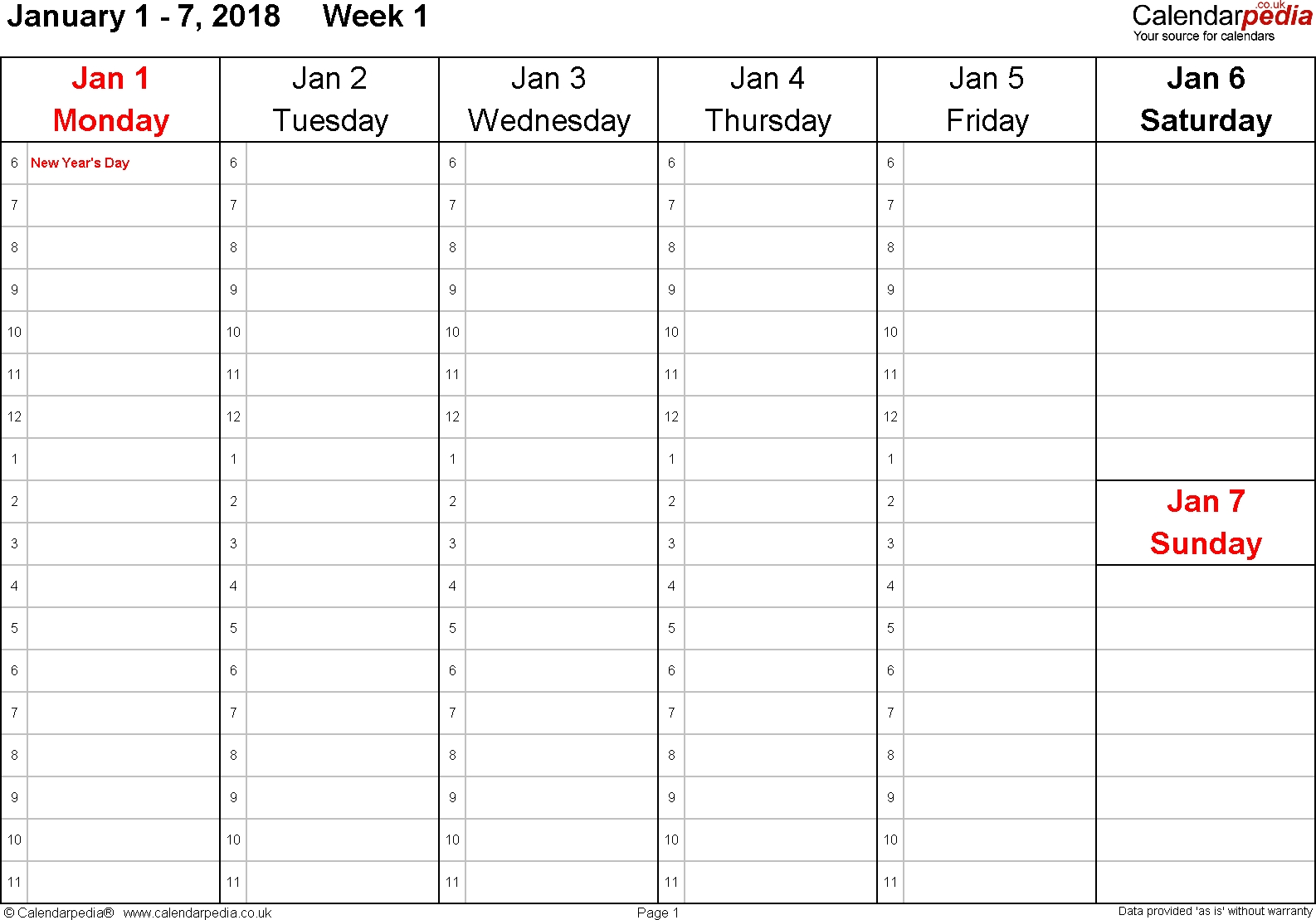Printable Calendar 2018 No Weekends | Printable Calendar 2019-Calendar Template No Weekends