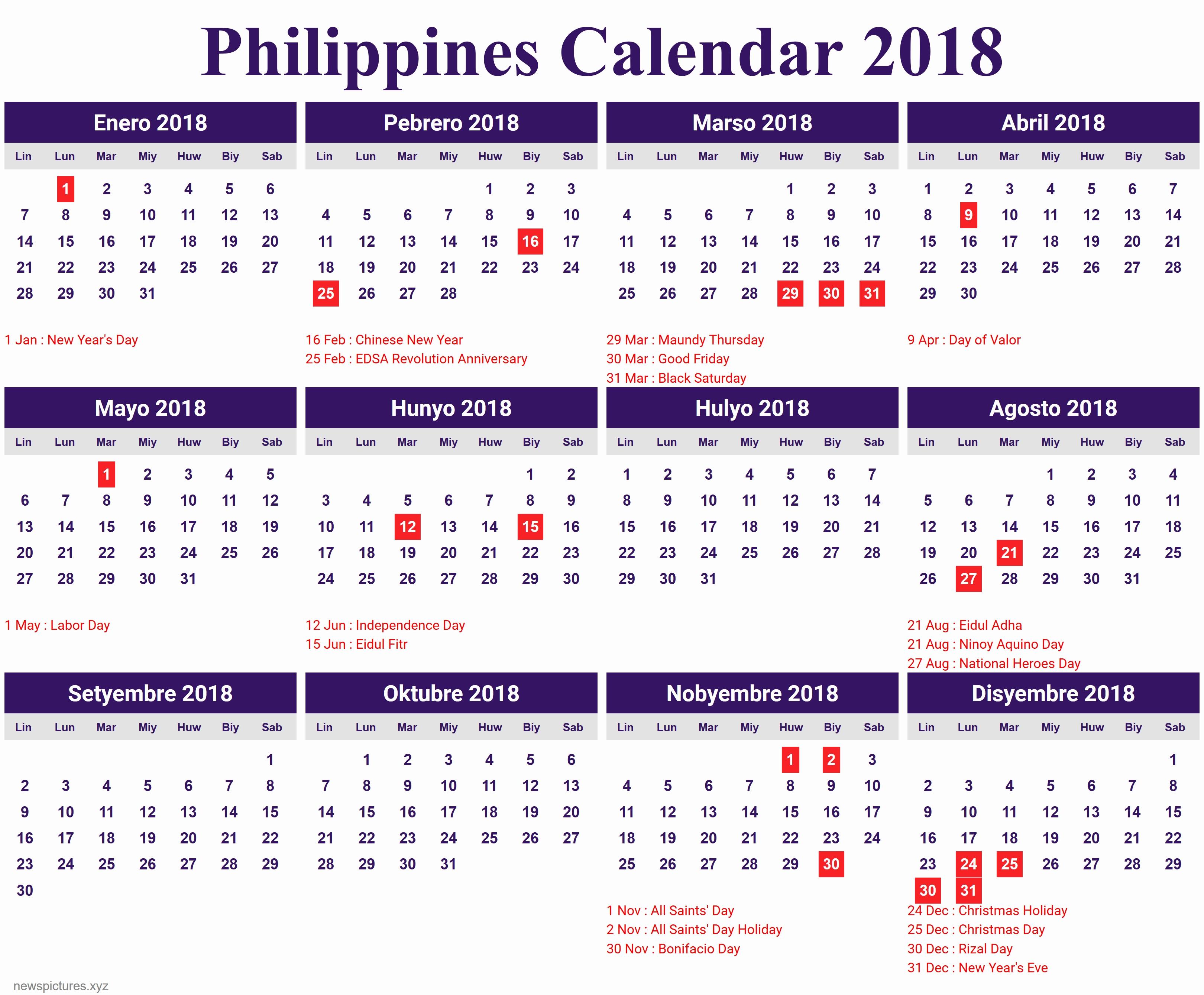 Printable Calendar 2018 Philippines | Printable Calendar 2019-Holidays In Philippines Printable