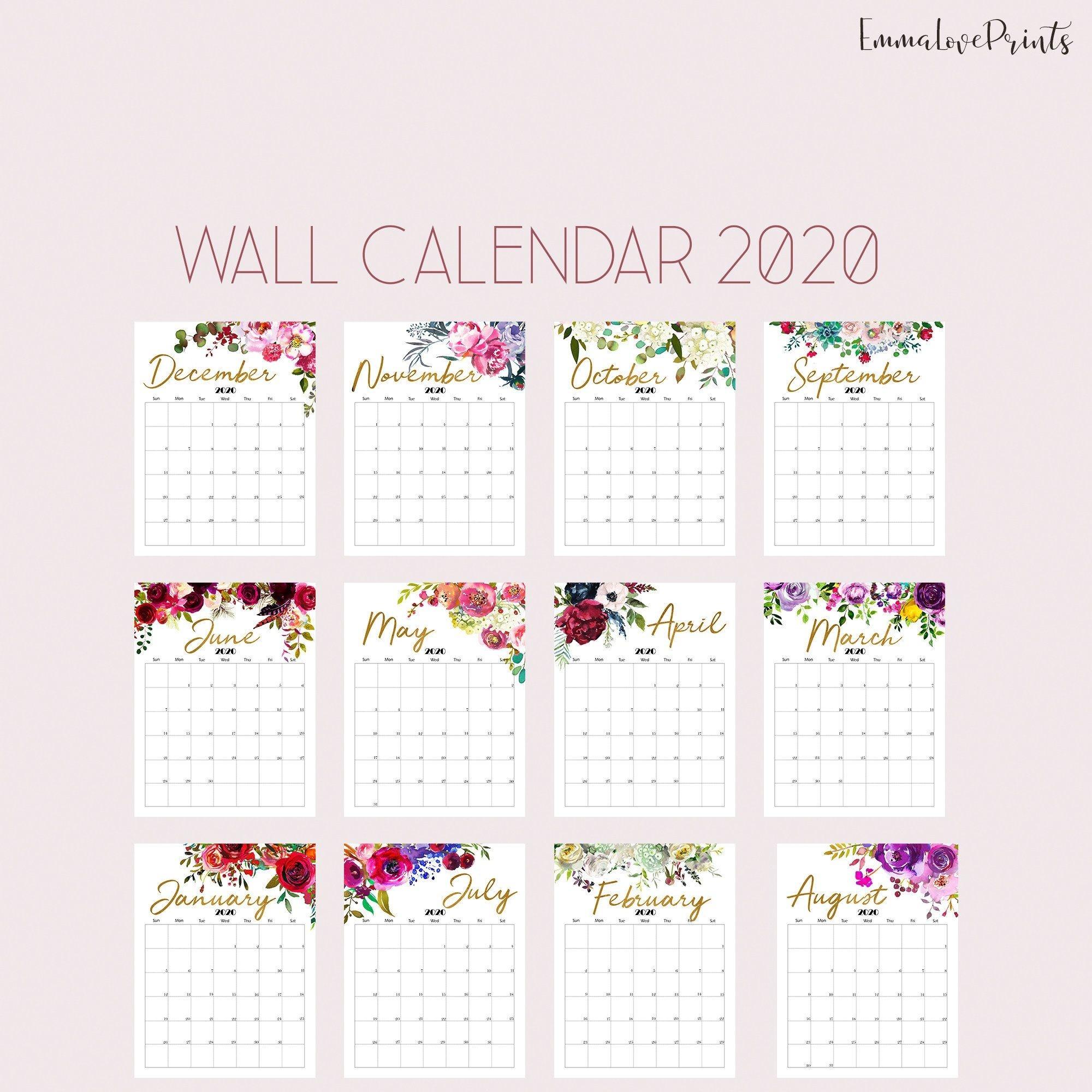 Printable Calendar 2020 Wall Calendar 2020 Desk Calendar-Pretty Monthly Calendar 2020