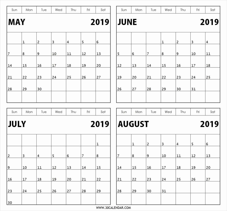 Printable Calendar 4 Months Per Page 2019 • Printable Blank-Calendar Template 4 Months Per Page