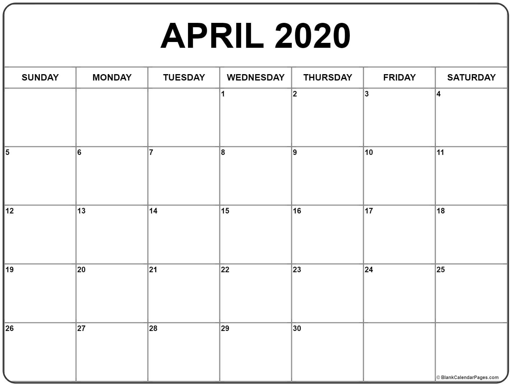 Printable Calendar April 2020 | Isacl-Fill In Calendar April 2020 Template