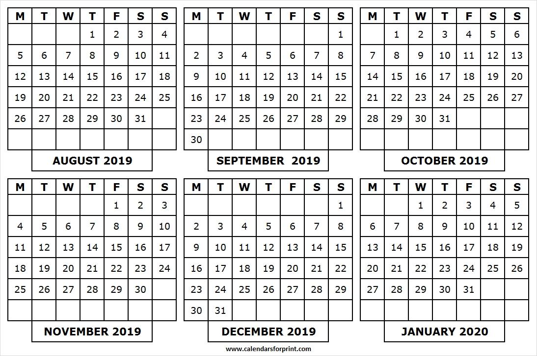 Printable Calendar August 2019 January 2020 | Pinterst-January 2020 Yearly Calendar
