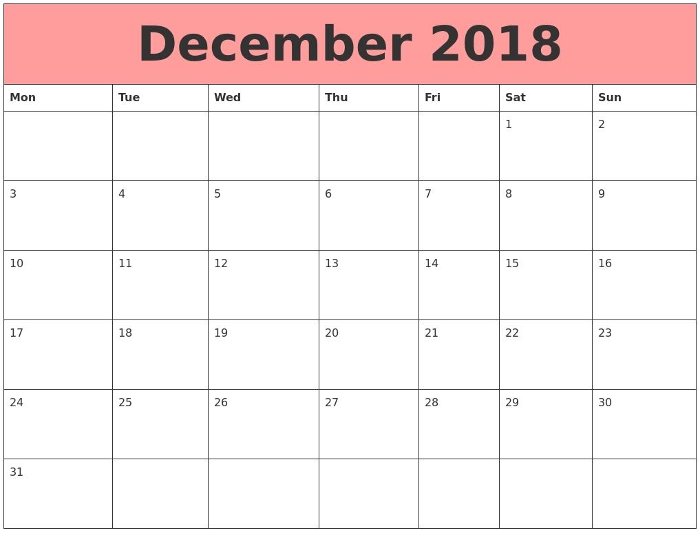 Printable Calendar December 2018 Monday Start | Calendar-Calendar Template Monday Start