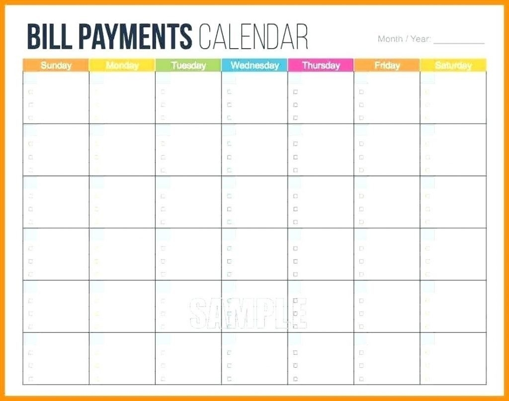 Printable Calendar For Bill Paying - Calendar Inspiration Design-Pintable Monthly Bill Calender