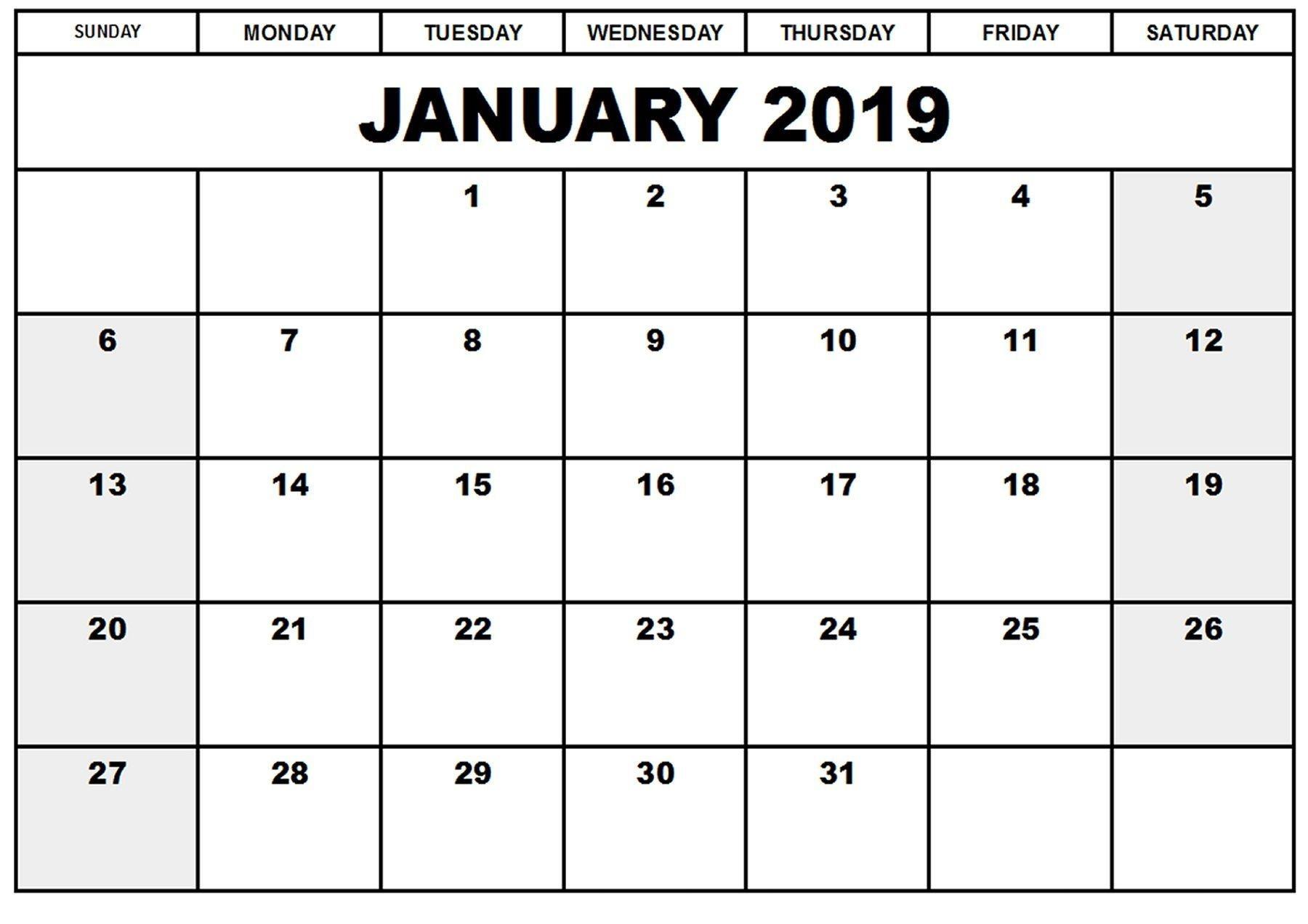 Printable Calendar January 2019 | Blank January 2019-Countdown Calendar Template For Excel