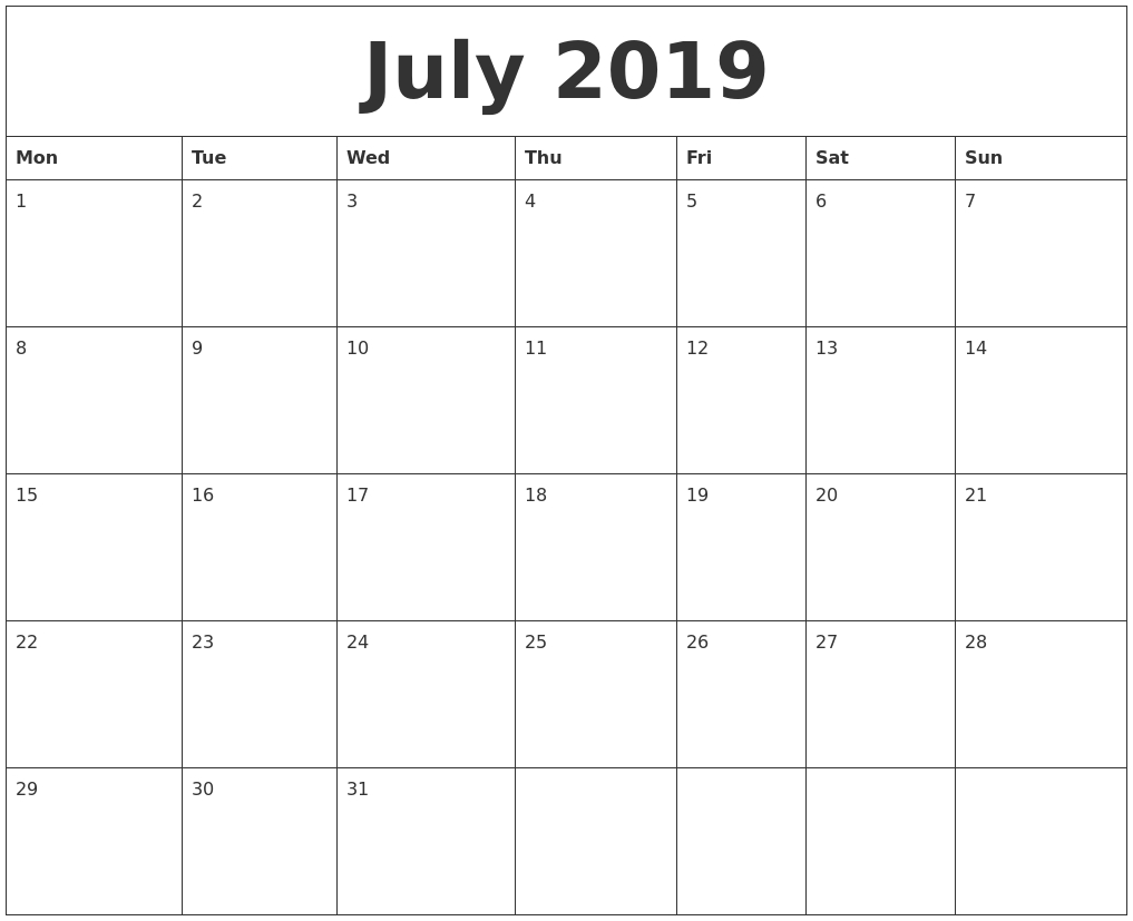 Printable Calendar Monday Start | Printable Calendar 2019-Monthly Calendar Starting Monday