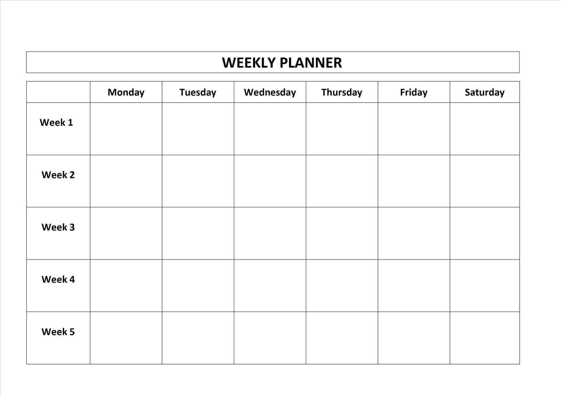 Printable Calendar Monday Through Friday | Printable-Blank Monday Through Friday Template