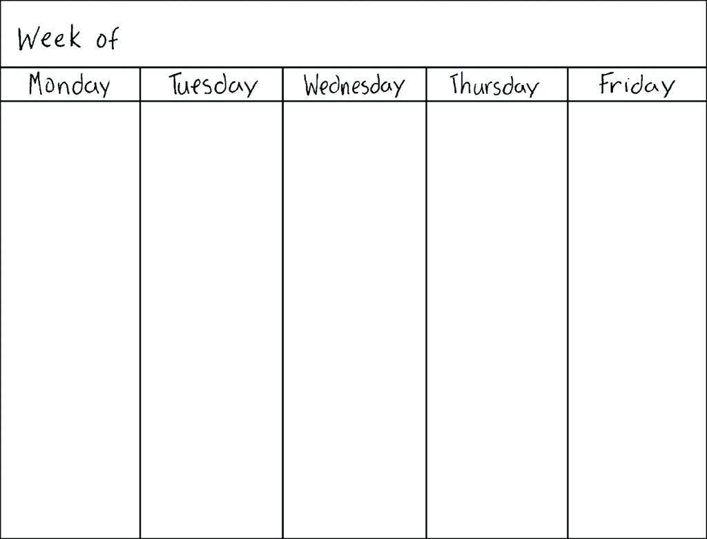 Printable Calendar Monday Through Friday | Printable-Monday Through Friday Template