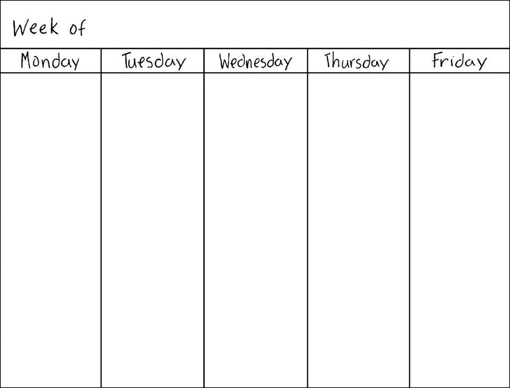 printable blank monday through friday calendars