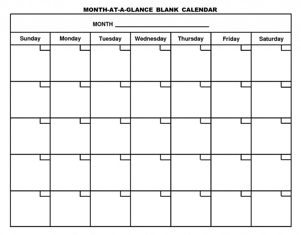Printable Calendar Pages Monthly | Activity Shelter-Blank Calenday Monyh Pages