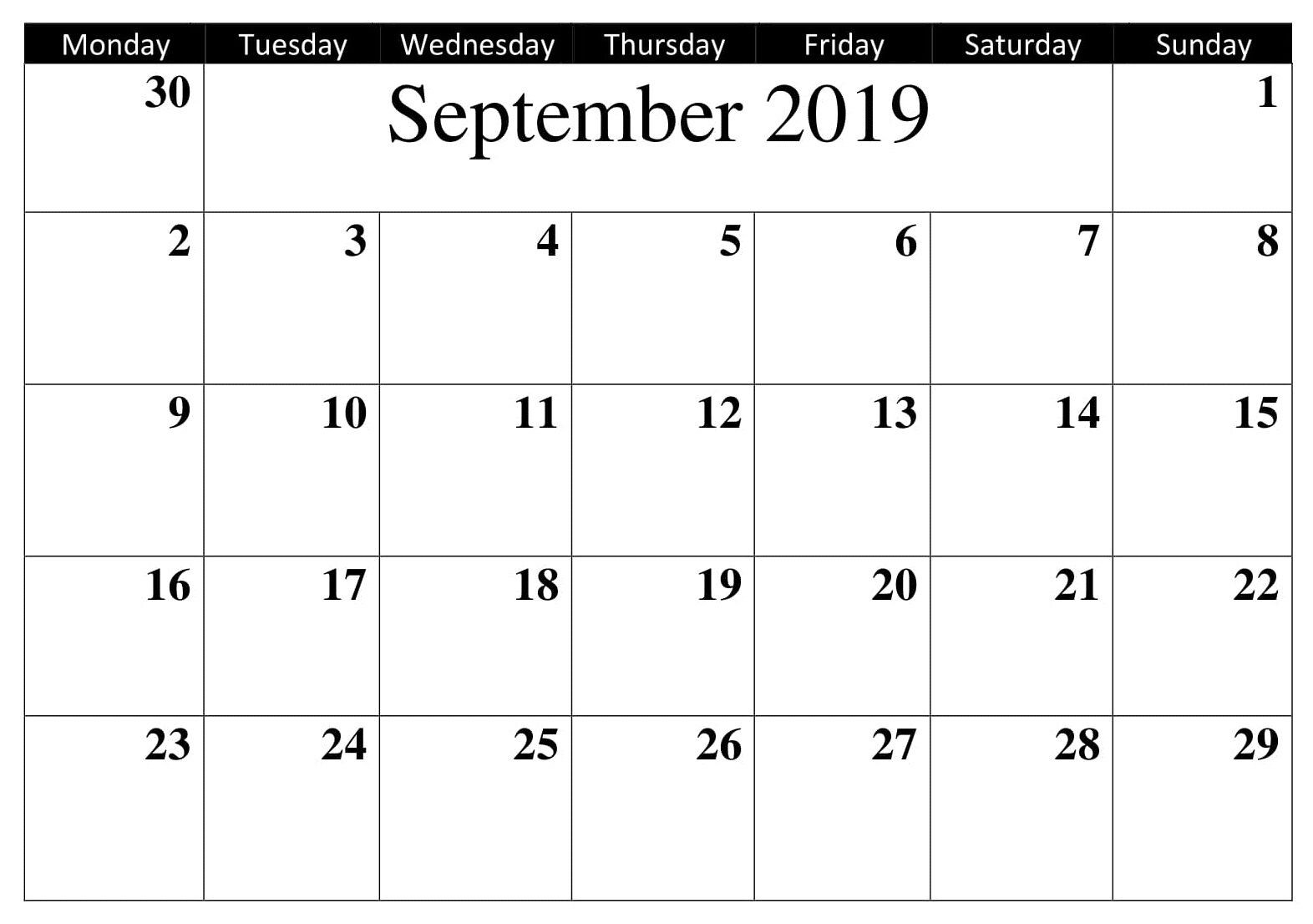 Printable Calendar September 2019 Word | September Calendar-January 2020 Calendar Waterproof