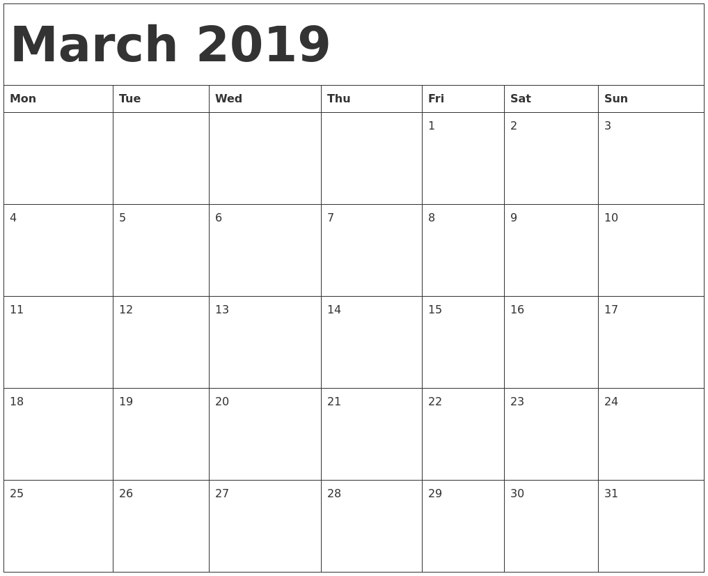 Printable Calendar Templates --Free Blank Calender Montly Starting On Monday