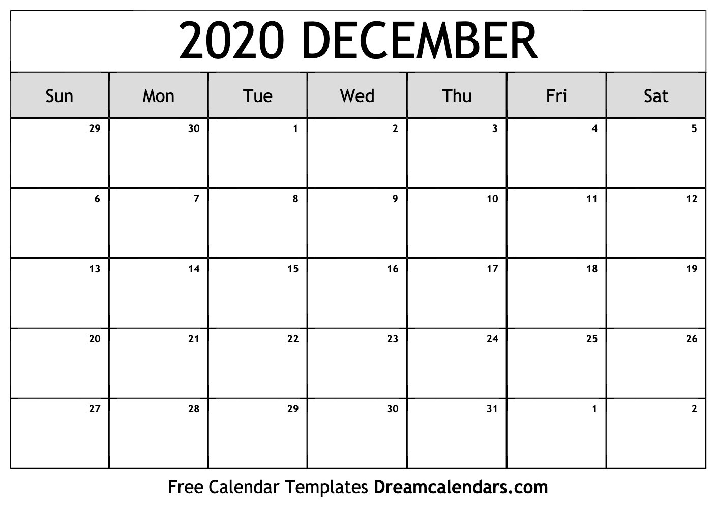 Printable December 2020 Calendar-Monthly Calendar August Through December 2020