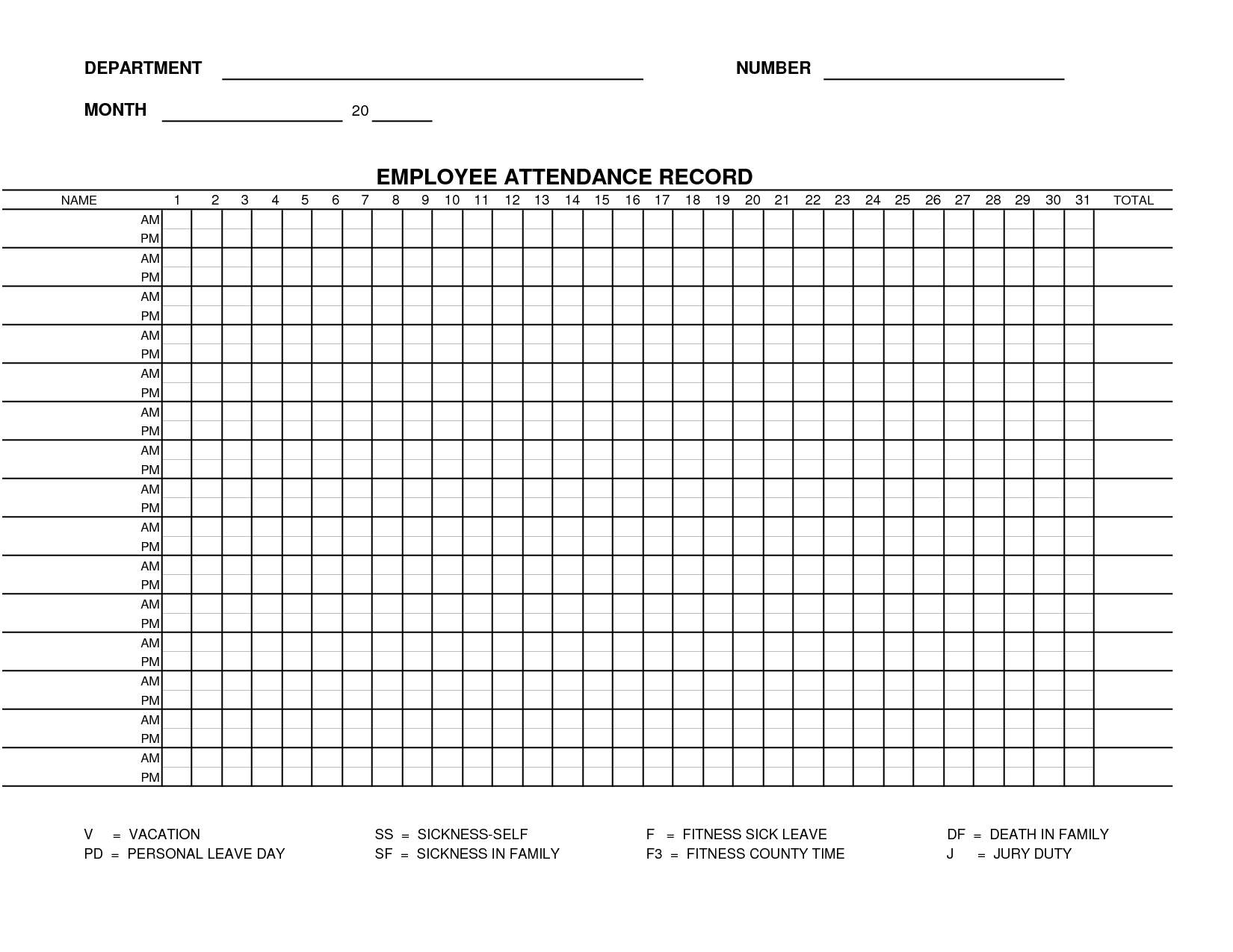 Printable Employee Attendance Sheet Template | Form 15-Free Employee Attendance Template