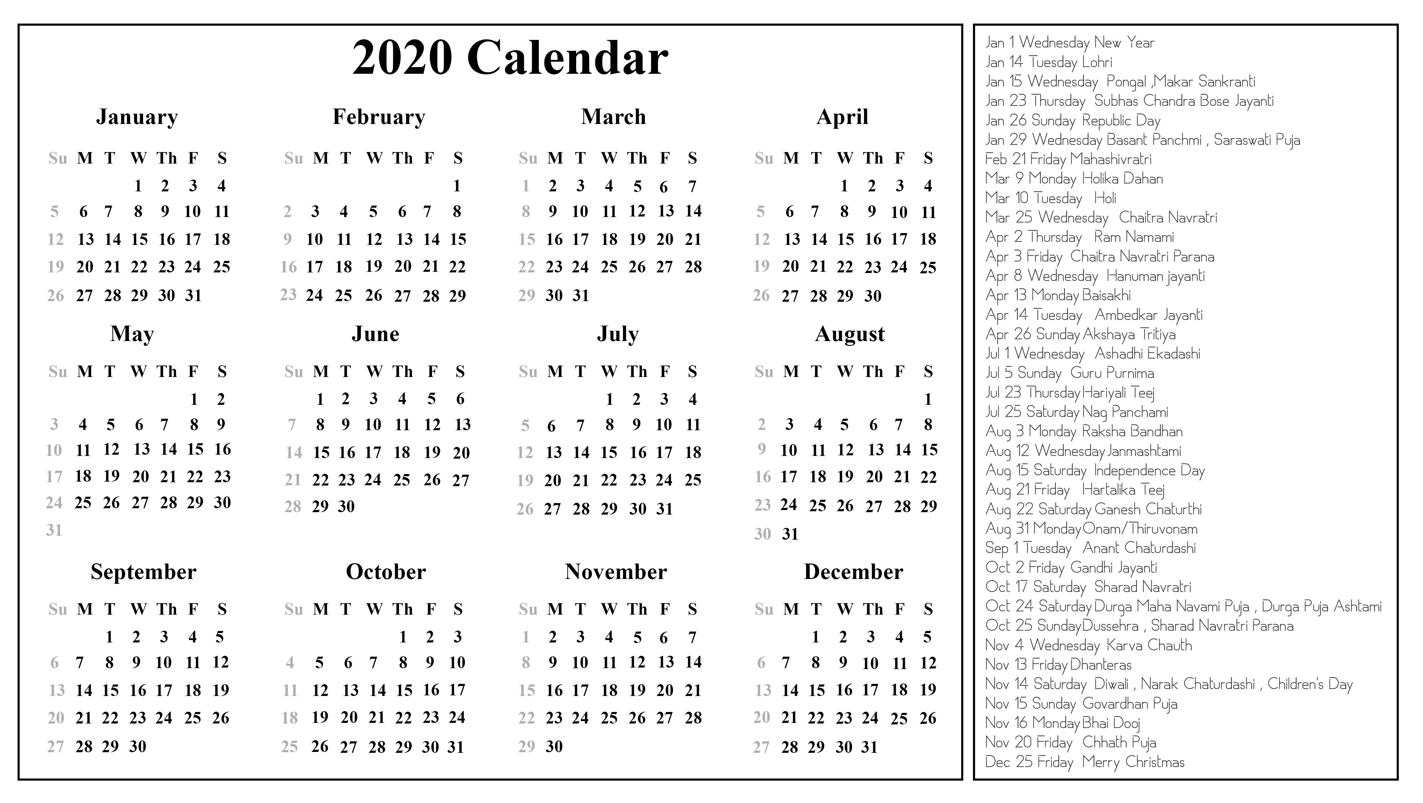 Printable Free Download Indian Calendar 2020 [Pdf, Excel-Printable 2020 Holidays India