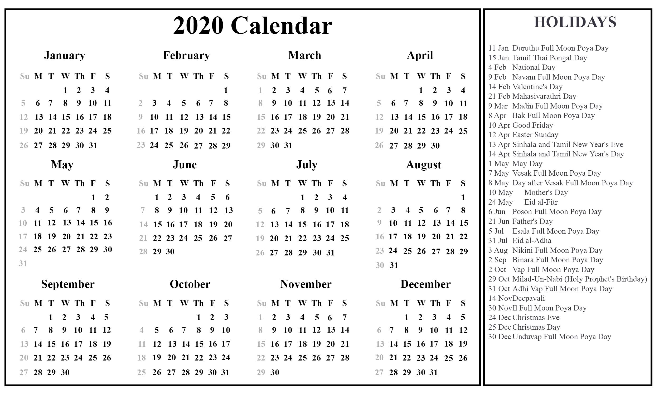 Printable Free Download Sri Lanka Calendar 2020 [Pdf, Excel-2020 Holidays Printable List