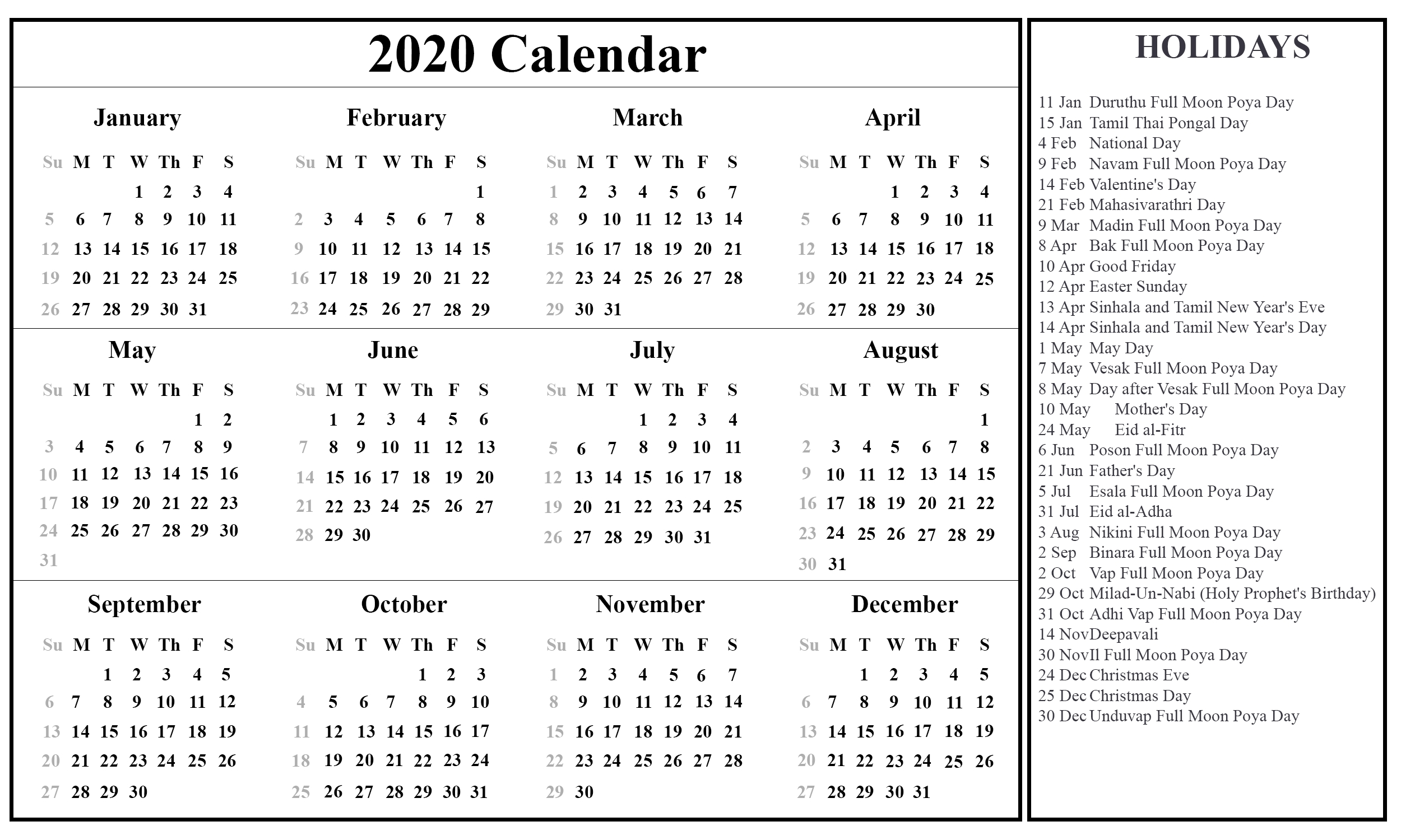 Printable Free Download Sri Lanka Calendar 2020 [Pdf, Excel-Calendar With Public Holidays 2020