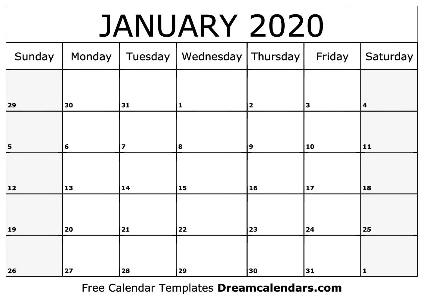 Printable January 2020 Calendar-Blank January 2020 Calendar