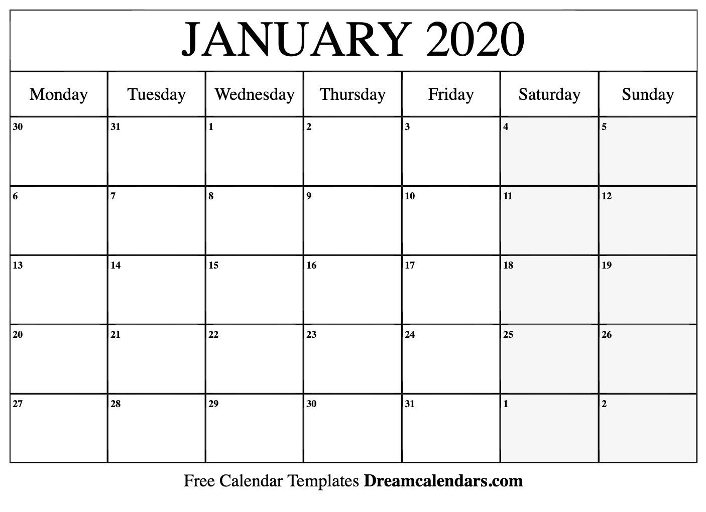 Printable January 2020 Calendar-Free January 2020 Calendar