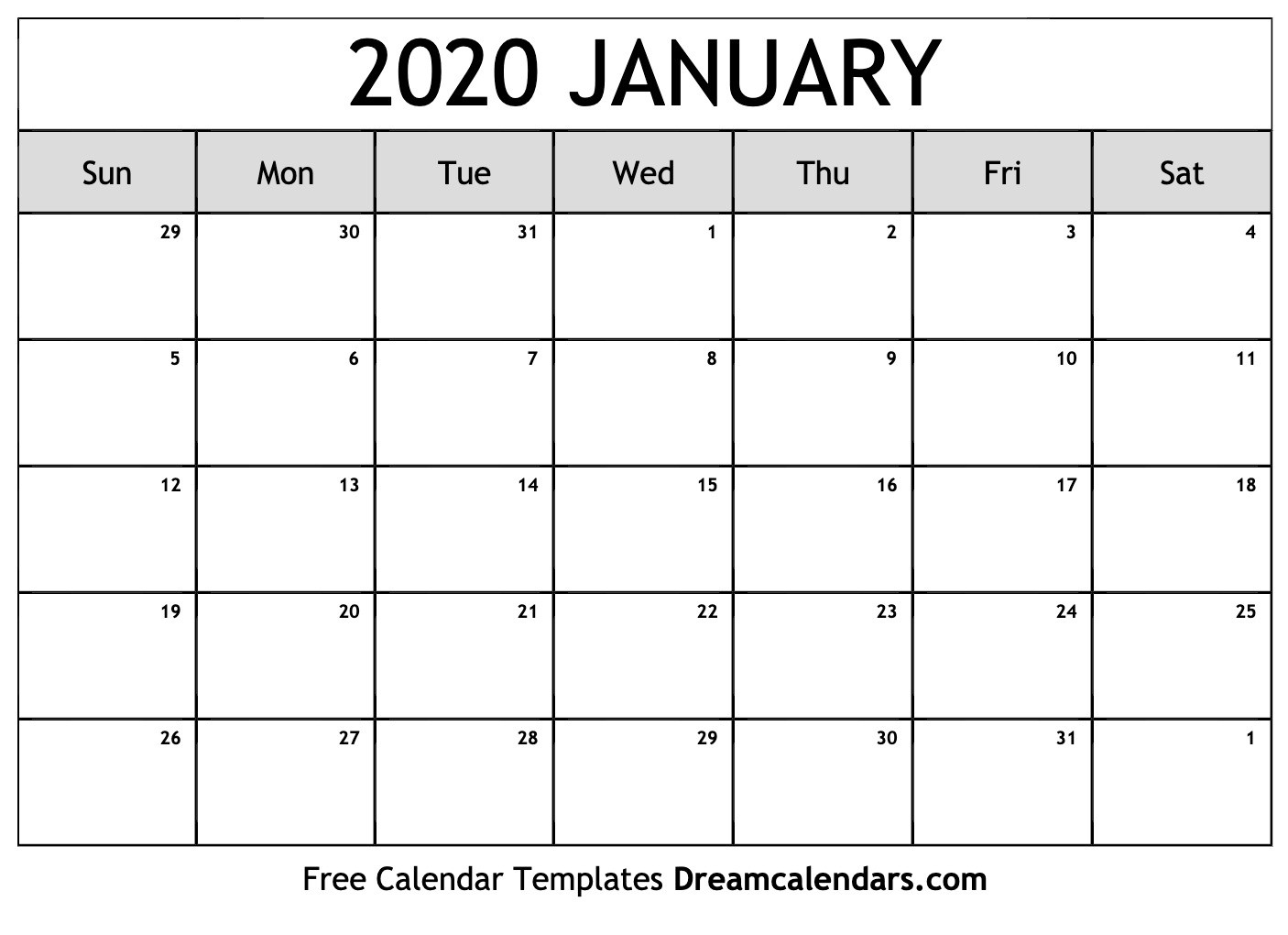 Printable January 2020 Calendar-Images Of January 2020 Calendar
