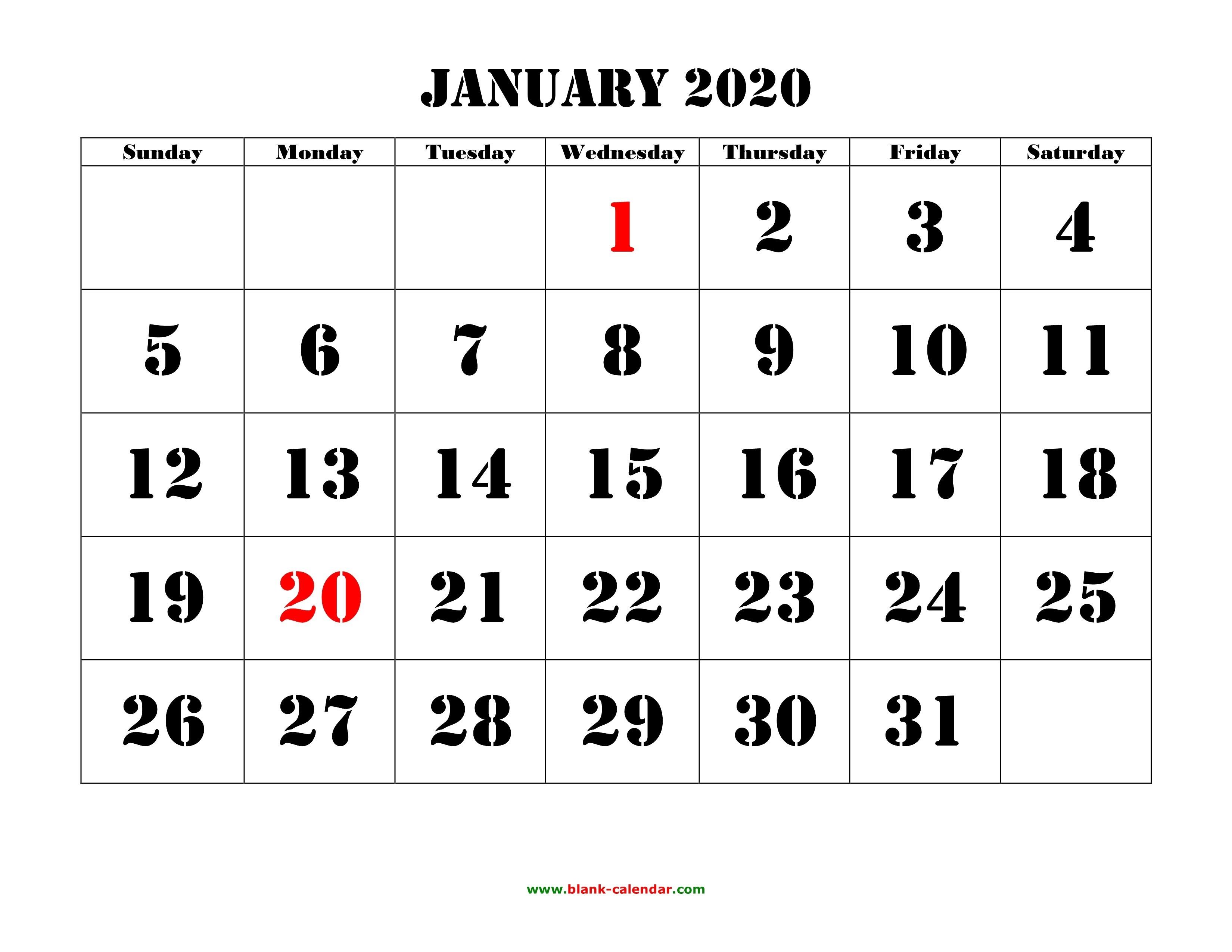Printable January 2020 Calendar Large Font | Jcreview-Large January 2020 Calendar