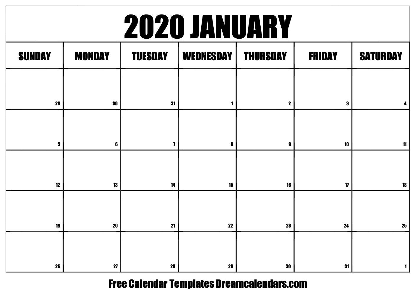 Printable January 2020 Calendar-Show Me January 2020 Calendar