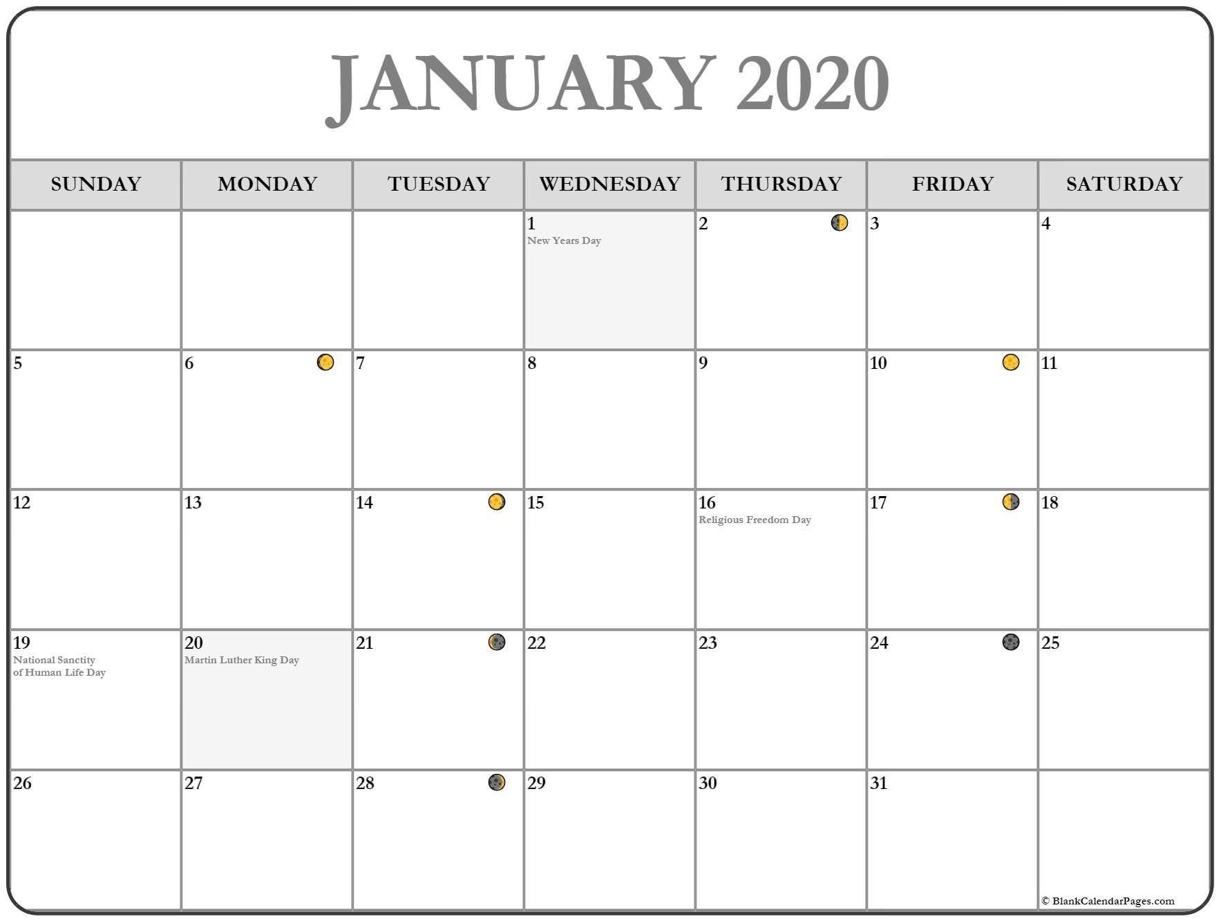 Printable January 2020 Moon Calendar #january #january2020-January 2020 Day Calendar