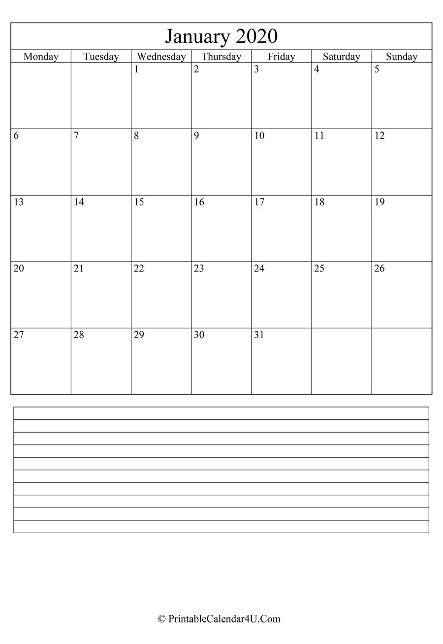 Printable January Calendar 2020 With Notes (Portrait)-January 2020 Fillable Calendar