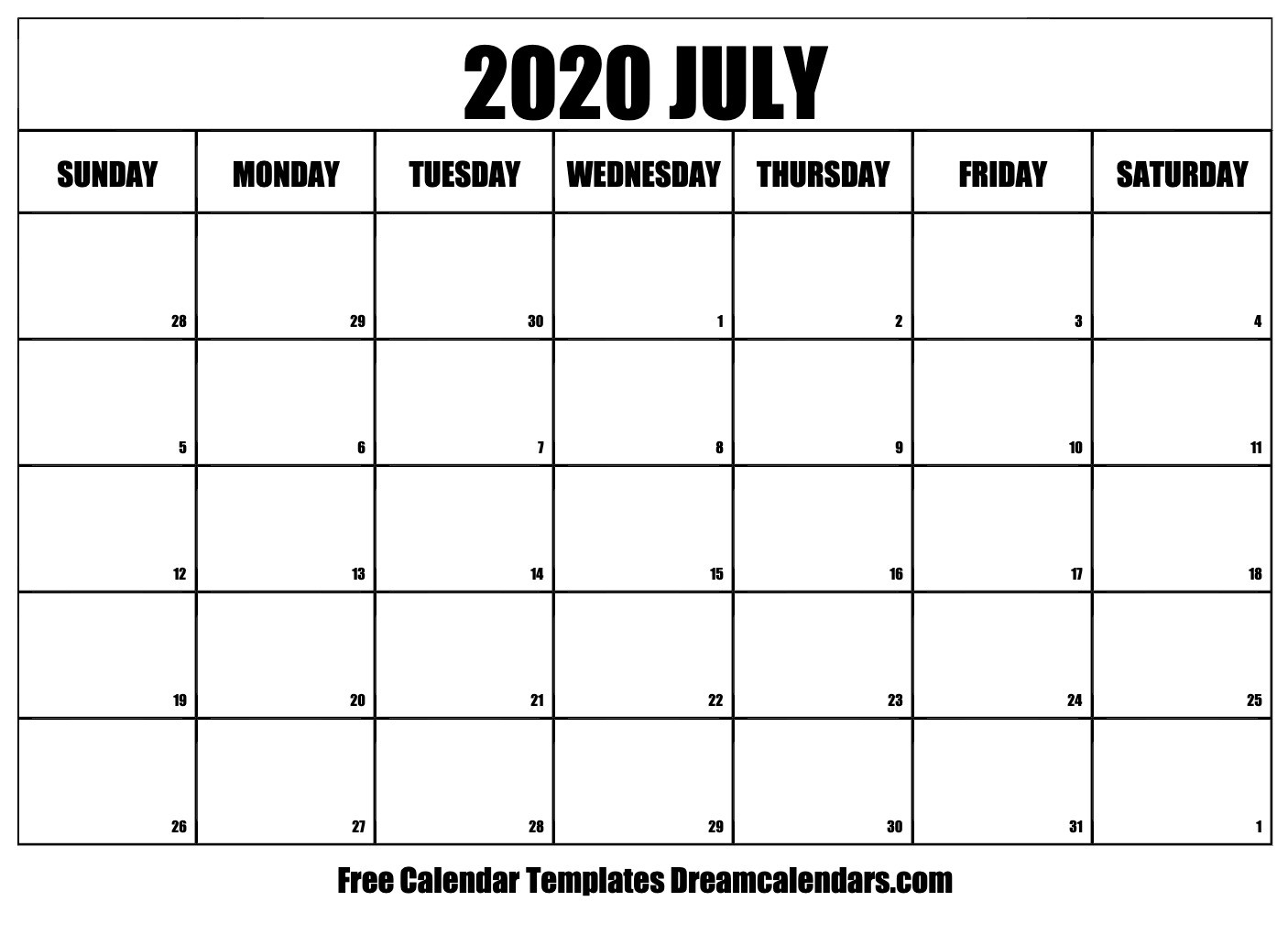 Printable July 2020 Calendar-August 2020 Thru December 2020 Calendar Template