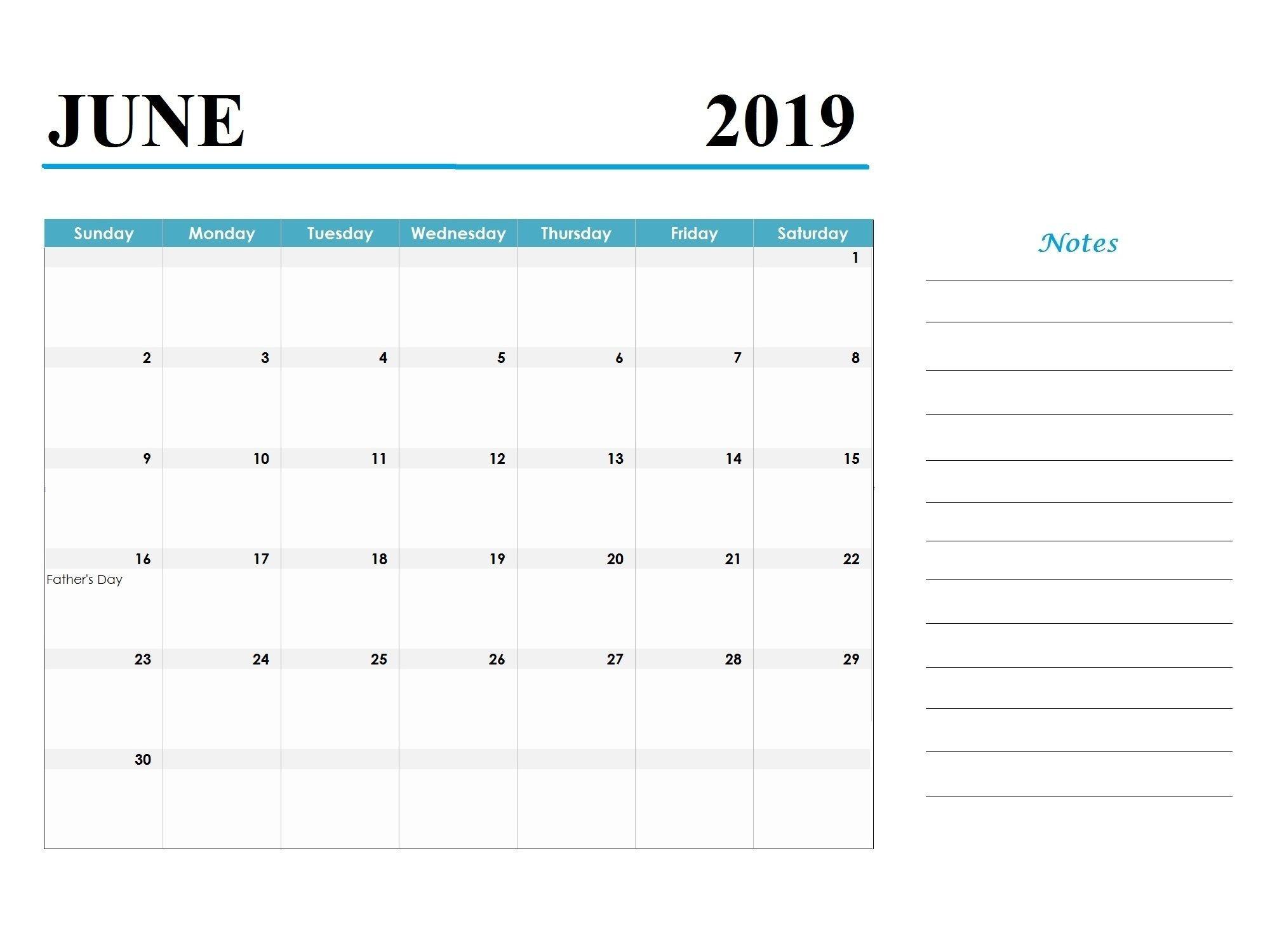 Printable June 2019 Calendar Template Word Document-Printable Calendar Template With Notes