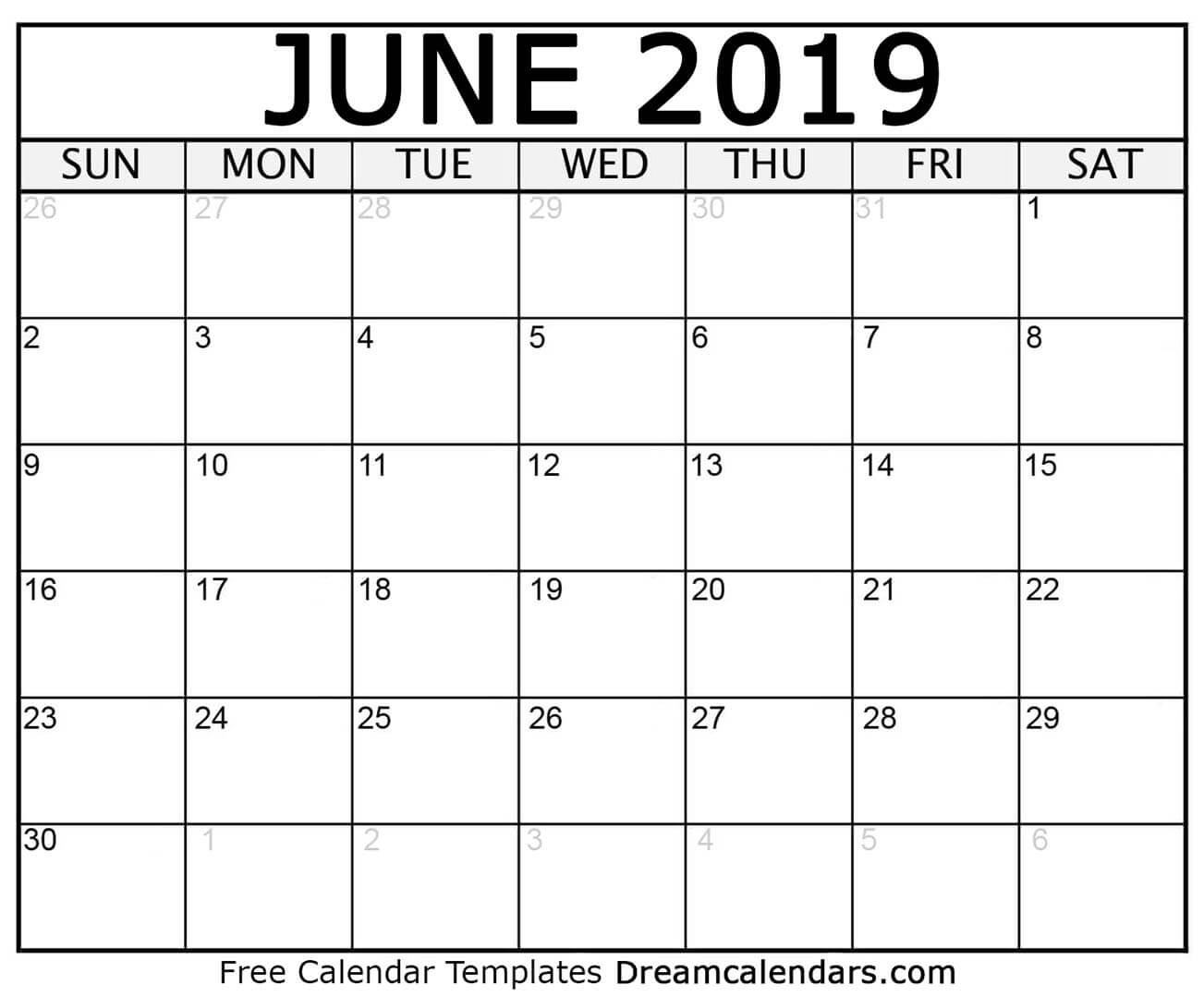 Printable June 2019 Calendar-Us Printable Blank Calendars