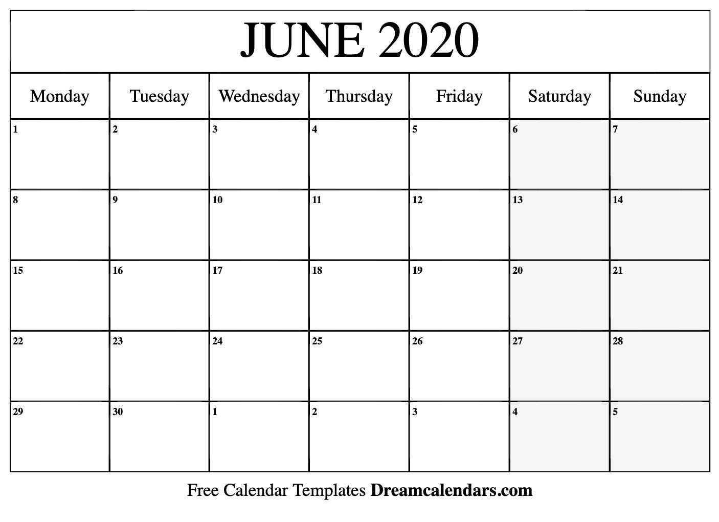 Printable June 2020 Calendar-Printable Monthly Calendar June 2020