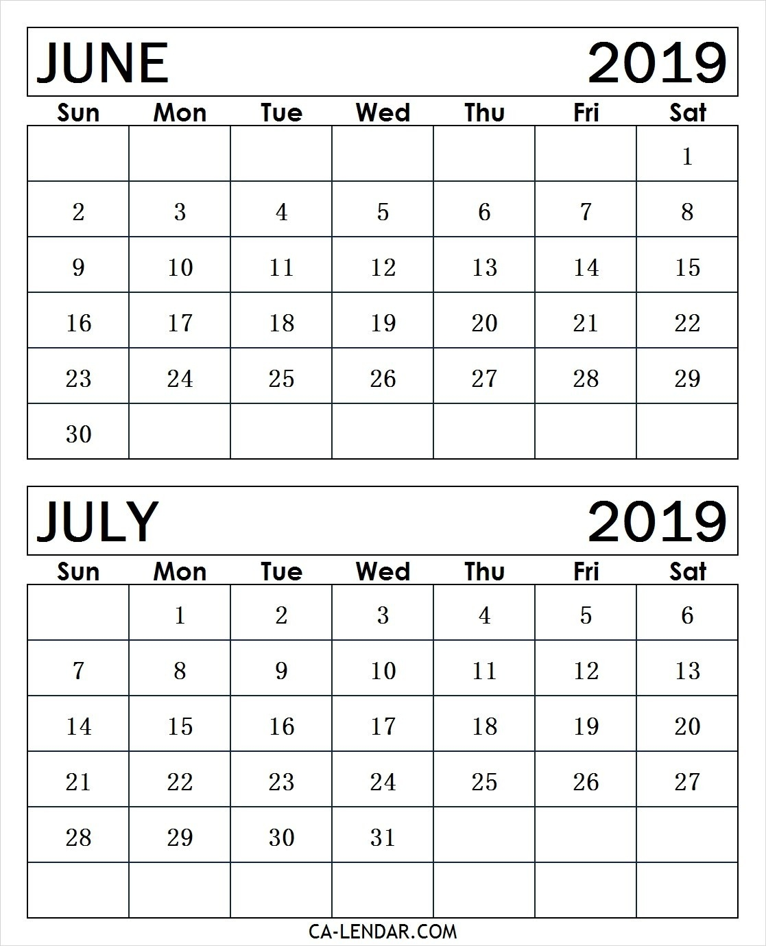 Printable June And July 2019 Calendar Monthly Templates-Printable Monthly Calendars For June And July