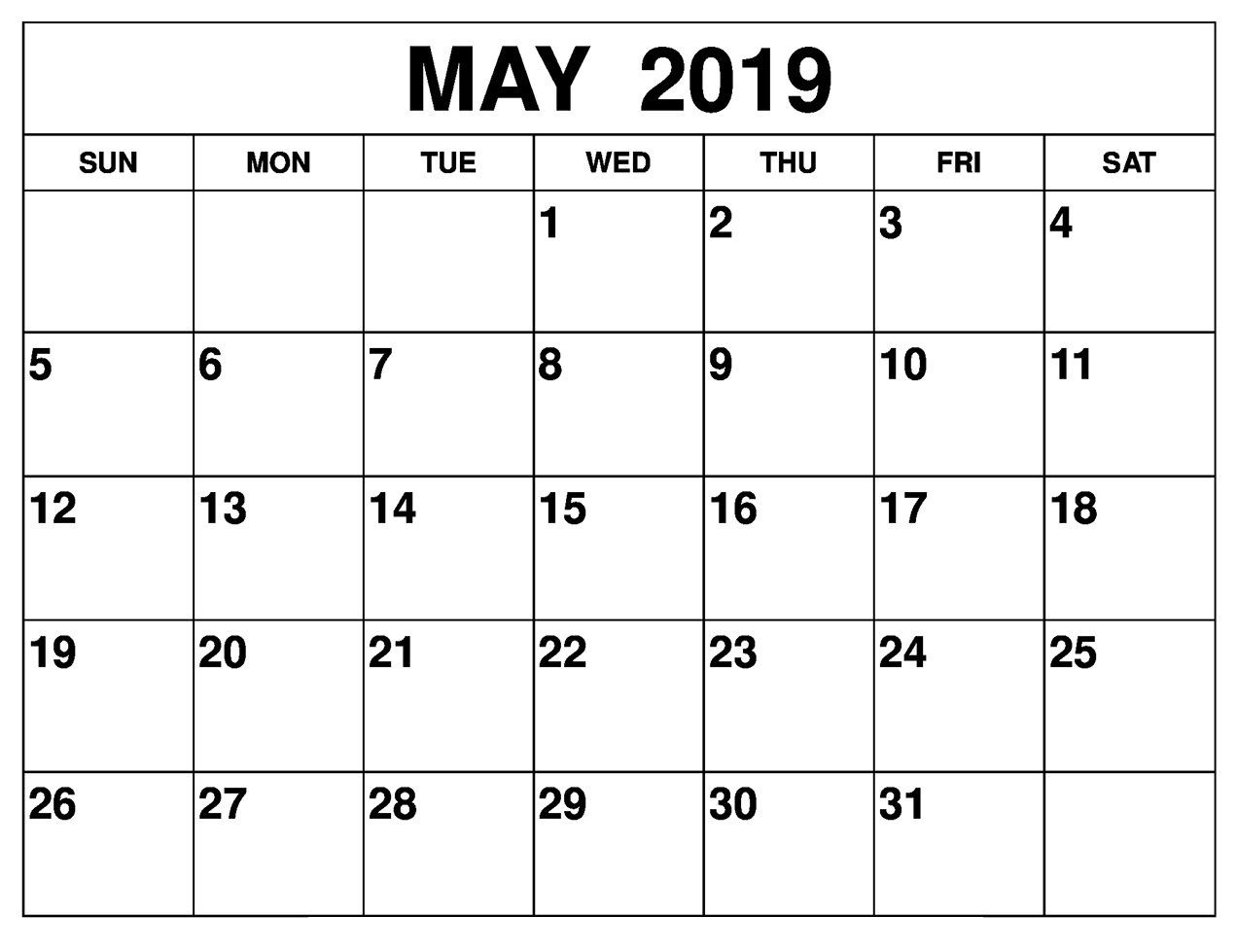 Printable May 2019 Calendar Editable | May 2019 Blank-January 2020 Calendar Printable Wincalendar